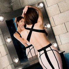 Sexy Cut Out Striped Bandage Dress Bodycon Mini