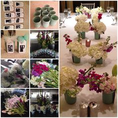 DIY centerpieces. Spray painted mason jars, name tags, B/W photos and a personal message on the back.
