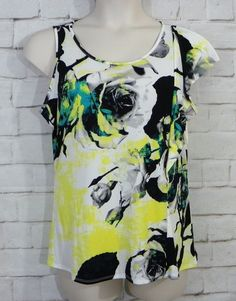 NEW Womens WORTHINGTON Floral Stretch Knit One Shoulder Career Casual Top SZ L  #Worthington #TankCami #CareerCasual