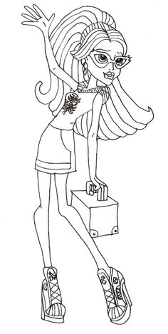 Monster High Waving Hand Coloring Pages