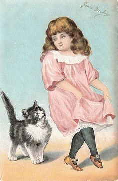 Vintage cat and girl ~ Jaanas Gott o Blandat