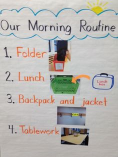 Morning Routines Morning Routines to introduce at the beginning of the year - Kindergarten Lesson Plans Kindergarten First Week, Kindergarten Anchor Charts, First Grade Classroom, Teaching Kindergarten, Teaching First Grade, Morning Meeting Kindergarten, Anchor Charts First Grade, Welcome To Kindergarten, Primary Teaching