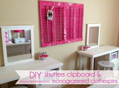 A really fun and easy way to recycle old shutters, and turn them into a darling clipboard--perfect for bedrooms, office, or kitchen!