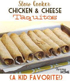 Slow Cooker Chicken and Cheese Taquitos are super easy and a kid favorite! (Maybe sub Greek yogurt for the cream cheese? Mexican Dishes, Mexican Food Recipes, Real Food Recipes, Cooking Recipes, Yummy Food, Ethnic Recipes, Kid Recipes, Tasty, Yummy Yummy