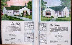 1940s Florida House Plans Booklet Petite Homes of Budget Appeal. Color Illustrations.