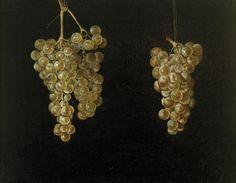 """""""Dos racimos de uvas colgando"""", Juan  Fernández el Labrador. Óleo sobre lienzo, 29 x 38 cm  c. 1629 - 1630  Madrid, Museo Nacional del Prado"""