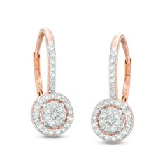These 1/3 ct. t.w. diamond frame drop earrings are set in 10K rose gold and secure with lever backs.