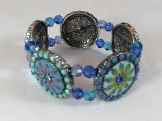 Floral Disk Stretch Bracelet/ Enamel Disk Bracelet/ Handmade/ Hand Crafted/ Boho Bracelet/ Blue Flower Bracelet/ Swarovski Crystals by NellieAnneDesigns on Etsy