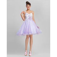 vestido vestido de baile de um ombro na altura do joelho tule cocktail / baile com beading – BRL R$ 246,41