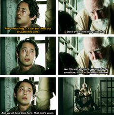 Glenn Rhee - Steven Yeun and Hershel Greene - Scott Wilson - AMC's The Walking Dead Walking Dead Girl, Walking Dead Season 4, Amc Walking Dead, Fear The Walking Dead, Glenn Rhee, Twd Glenn, Dead Pictures, Steven Yeun, Dead Inside