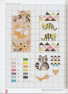 Small animal chart for cross stitch, knitting, knotting, beading, weaving, pixel art, and other crafting projects.