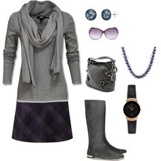 """""""Classic fall gray skirt and sweater"""" by lindamd on Polyvore"""