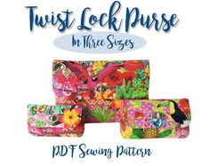 PDF Sewing pattern for a twist lock wallet - 3 full size patterns for 3 sizes of purse included Small for a coin purse and phone wallet. Medium for a long purse or wallet that will fit notes without folding plus your phone. Large for a clutch bag or iPad Bag Patterns To Sew, Pdf Sewing Patterns, Sewing Hacks, Sewing Tips, Sewing Tutorials, Sewing Ideas, Wallet Pattern, Sewing Projects For Beginners, Bag Making