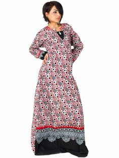 Aljalabiya.com: Cotton Patterned Jalabiya with hand embroidery (N-11467) $63.00
