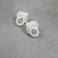 Soutache zircon crystal wedding earrings, delicate and elegant earrings for bride, glamour studs, white silver bridal stud Wedding Earrings Studs, Stud Earrings, White Earrings, Boho Earrings, Bridal Jewelry, Unique Jewelry, Wire Jewelry, Soutache Earrings, Rhinestone Earrings