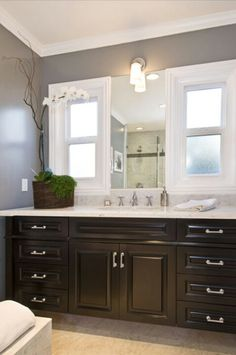 """""""Another Jeff Lewis bathroom"""" - Interesting to think of maybe going with black when I repaint the master bathroom cabinets."""