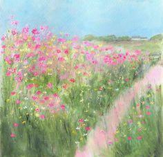 Sue Fenlon: Field of wild flowers Watercolor Scenery, Easy Watercolor, Watercolor Landscape, Abstract Watercolor, Watercolour Painting, Landscape Art, Watercolor Flowers, Landscape Paintings, Flower Canvas