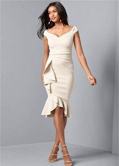CAP SLEEVE RUFFLE DETAIL DRESS Fashion Vestidos, Women's Fashion Dresses, Formal Dress Shops, Formal Dresses, Party Dresses, Blush Dresses, Dresses Dresses, Night Outfits, Dress Outfits