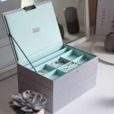 Dove Grey & Mint Green jewellery box by Stackers -  notonthehighstreet.com