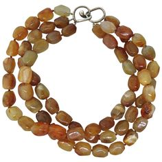 Angela Cummings Agate Bead Silver Necklace | From a unique collection of vintage multi-strand necklaces at https://www.1stdibs.com/jewelry/necklaces/multi-strand-necklaces/