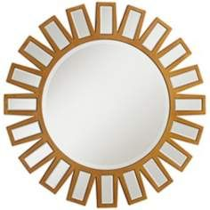 "Novella Gold Sunburst 34"" Round Wall Mirror"