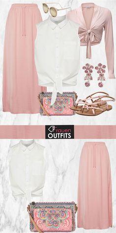 Wunderschönes Sommeroutfit mit rosa Maxirock, weißem Hemd und tollen Accessoires... #fashion #fashionista #mode #damenmode #frauenmode #frauenoutfit #damenoutfit #outfit #frühling #sommer #modetrend #trend2018 #modetrend2018 #ootd #trend #sweet
