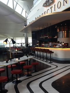Interior of Heston's new restaurant at Heathrow T2. The Perfectionist's Cafe, designed by Afroditi Krassa