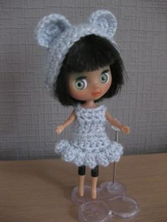 LPS Blythe with crochet dress and bear hat