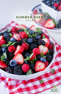 This easy summer berry salad is extra delicious with a simple citrus salad dressing. | via Simply Organic