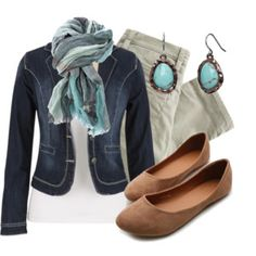 Denim Blazer, camel flats and great scarf