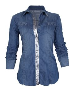 Blank Denim Foil Shirt in Double Dip | eLUXE