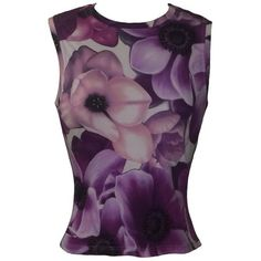 Preowned Gianni Versace Couture 1990s Purple Floral Print Sleeveless... ($195) ❤ liked on Polyvore featuring tops, purple, purple tank, sleeveless tops, floral top, floral print top and rayon tops