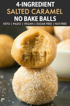 Healthy No Bake Salted Caramel Protein Bliss Balls (Paleo, Vegan, Keto, Sugar Free)- an easy nut-free and kid-friendly recipe for healthy salted caramel energy balls- No sugar, peanut butter-free- A salted caramel fat bomb! Keto Desserts, Keto Friendly Desserts, Keto Snacks, Snack Recipes, Dessert Recipes, Kid Friendly Recipes, Carb Free Snacks, Delicious Desserts, Sugar Free Snacks