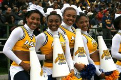 Cheerleaders from North Carolina A State University. Aggie Pride!