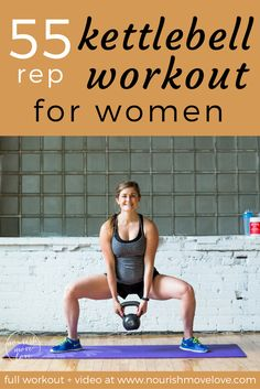 6 exercises, 55 reps, 30-minute total body strength and conditioning kettlebell workout. Perfect at-home or gym workout that targets your full body – upper body, arms, lower body, butt. Get fit for summer with this workout challenge. Squat, lunge, burpee, shoulder press, push up, row, squat jumps, bicep curls. Full workout + instructional video on website | www.nourishmovelove.com Kettlebell Training, Crossfit Kettlebell, Kettlebell Challenge, Workout Challenge, Kettlebell Exercises For Arms, Upper Body Kettlebell Workout, Kettlebell Routines, Kettlebell Deadlift, Water Challenge