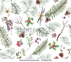 Vintage Floral Seamless Background, New Year Decoration with Fern Leaves, Pine Branches, Nuts, Fir Cones. Botanical Natural Watercolor Pattern