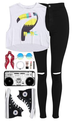 """Untitled #357"" by sofia-collins8 on Polyvore featuring Topshop, Illesteva, Yves Saint Laurent, Lokai, NYX, Lancôme and Converse"
