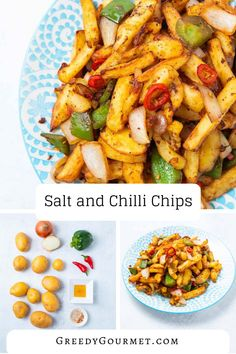 Your wallet will never have to suffer on expensive Chinese takeaways if you learn how to make these salt and chili chips. They are finger-licking awesome! Veggie Recipes, Asian Recipes, Vegetarian Recipes, Cooking Recipes, Healthy Recipes, Chili Recipes, Healthy Chinese Recipes, Skillet Recipes, Cooking Gadgets