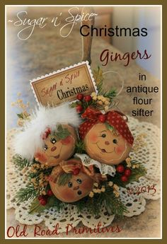 ***NEW*** Sugar n' Spice Christmas Gingers Pattern-Ginger,Gingerbread,Gingerbread Ornies,Vintage,Antique,Christmas,Old Road Primitives,Craft...