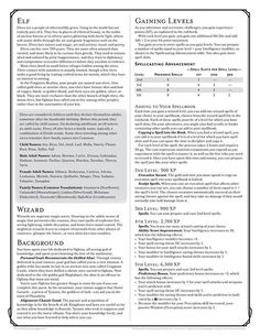 D&D 5.0 Next Character Sheet Part 2 - High Elf Wizard 1 Acolyte Background and Gaining Levels | Book cover and interior art for Dungeons and Dragons 5.0 - Dungeons & Dragons, D&D, DND, 5th Edition, 5th Ed., 5.0, 5E, Next, d20, fantasy, Roleplaying Game, Role Playing Game, RPG, Game System License, GSL, Open Game License, OGL, Wizards of the Coast, WotC | Create your own roleplaying game books w/ RPG Bard: www.rpgbard.com | Not Trusty Sword art: click artwork for source