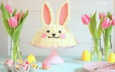 Cute Easter Bunny Cake Candy Melts, Easter Bunny Cake, Cake Decorating, Table Lamp, Sweet, Easter Ideas, Food, Pink Chocolate, Food Coloring