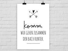 """Typo Poster """"Zusammen den Bach runter"""" / typo artprint, fun words by Prints Eisenherz via DaWanda.com"""