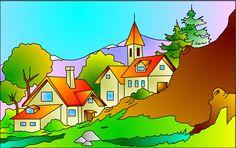 dibujo de un pueblo al lado de montaña - Buscar con Google