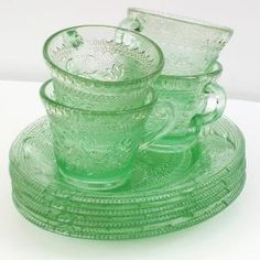 Green Depression Glass by WhimzyThyme