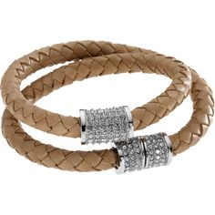 Michael Kors Double-Wrap Braided Leather Bracelet with Pave Detail, Dark Tan found on Polyvore
