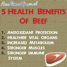 5 Health Benefits Of Beef  http://www.pinterest.com/freefitnesstips/