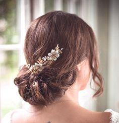 Gold bridal hair comb pair - VESPER - gold headpiece, woodland headpiece, gold hair combs, boho headpiece, brass bridal combs by LiveAdorned on Etsy https://www.etsy.com/listing/181772083/gold-bridal-hair-comb-pair-vesper-gold