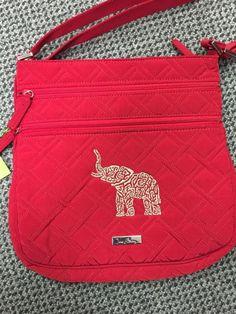 VERA BRADLEY Triple Zip Hipster Crossbody in Tango Red with Elephant Monogram