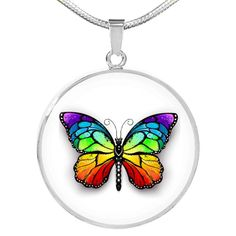 Colorful Butterfly Pendant Necklace in Gold or Stainless Steel with Fr – Poppies And Thyme Circle Pendant Necklace, Simple Necklace, Simple Jewelry, Etsy Jewelry, Bridal Jewelry, Custom Gift Boxes, Initial Bracelet, Butterfly Pendant, Personalized Necklace