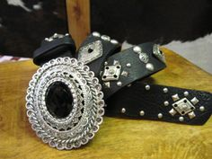 Rusty Spur Couture Leatherock Black Leather Belt with Silver Accents - 9430, ,